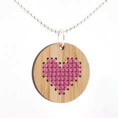 Something simple for The Girl to learn how to use a needle & thread/yarn? Cross Stitch Kit - Bamboo Pendant Necklace with Pink Heart Cross Stitch Heart, Modern Cross Stitch, Cross Stitch Patterns, Jewelry Kits, Diy Jewelry, Jewlery, Diy Necklace, Pendant Necklace, Necklaces