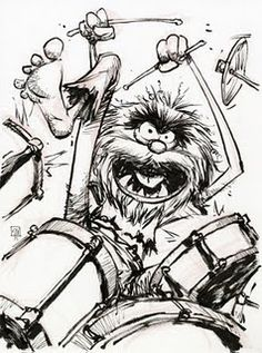 I'm and Animal lover. Oz artist Skottie Young offers up today's Art Appreciation Moment of the Day with his take on that drum banging animal… uh… Animal! Animal Sketches, Animal Drawings, Drummer Tattoo, Animal Muppet, Trommler, Drums Art, The Muppet Show, Young Art, Skottie Young