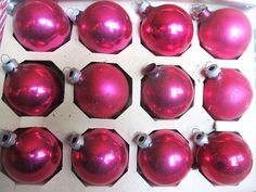 Vintage 1950s 60s Set Of 12 HOT PINK Christmas by AuntSuesVintage, $9.99