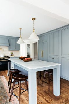 Colonial Kitchen Transformation with Inset Cabinetry - Kitchen Cost, Farmhouse Kitchen Island, New Kitchen, Kitchen Decor, Kitchen Design, Blue Kitchen Island, Kitchen Islands, Rustic Kitchen, Fixer Upper