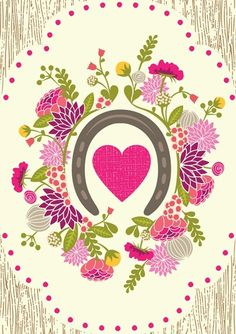 A floral print, horse shoe and a heart. Can you really go wrong?