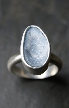 Pale Blue Geode Druzy Ring in Sterling Silver