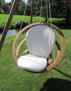 The Circa Hanging #Bamboo chair has a concentric design that features a collapsible frame made from eco-friendly bamboo materials and finished with stainless steel hardware. The seatback and cushion are made from Suncrylic fabrics to give you the utlimate lounging pleasure. The entire chair is suspended by 4 cords that can be attached to any sturdy pole or hammock frame. It's also available with a matching tripod.