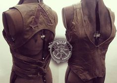 Steampunk post-apocalyptic military brown vegi leather bustier