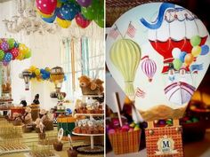 Hot Air Balloon Banner Up And Away Hanging By Thepartiesthatpop 1st Birthday Pinterest Balloons