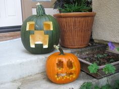 Minecraft Creeper Carved Pumpkins for Halloween