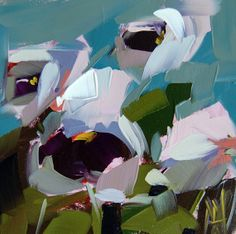 Pansies no. 7 original floral still life oil painting by Angela Moulton prattcreekart