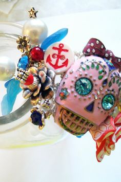 Sailor Jerry Inspired Sugar Skull Cuff by bluehoneyjewelry on Etsy, $95.00