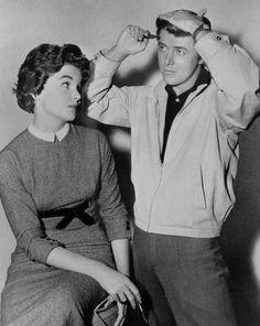 "Edd Byrnes as Kookie and Sue Randall from 77 Sunset Strip ~ ""Kookie! Kookie! Lend me your comb!"""