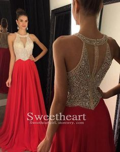 Red chiffon beaded sequin long cute prom dress 2016 for teens, unique long prom dress, modest prom dress #prom #promdress #formal