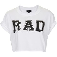 TOPSHOP Rad Crop Tee ($7.61) ❤ liked on Polyvore featuring tops, t-shirts, shirts, crop tops, white, white cotton tee, white shirt, roll sleeve shirt, white t shirt and white crop top