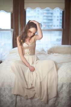 Rochelle // Rose Gold Sequinned Wedding Dress by Truvelle on Etsy