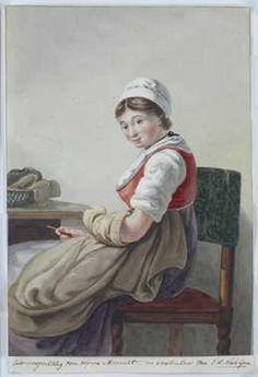 Zittende vrouw met verstelwerk Jan Hendrik Verheyen, ca. 1810s