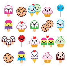 Buy Kawaii Food Characters by RedKoala on GraphicRiver. Vector icons set of Kawaii sweets isolated on white FEATURES: Vector Shapes All groups have names All elements . Cute Food Drawings, Cute Kawaii Drawings, Doodle Drawings, Easy Drawings, Doodle Art, 365 Kawaii, Kawaii Art, Stickers Kawaii, Cute Stickers
