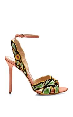 "Great heel from Charlotte Olympia. Charlotte Olympia ""Paradise"" sandal with 4"" multicolored high heels. Embroidery flowers and sleeves details with a peep toe and ankle strap. Open toe. $1075. At polyvore (http://www.ekseption.es/heels/paradise-sandal-green-canvas-s14?utm_source=polyvore&utm_medium=cpc&utm_campaign=shoe) In pink and teal."
