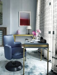 blue silk chair with gold and touches of pink- lush