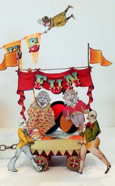 The circus is coming to town, led in by a parade by the clowns. In my version of a circus, it's not the people who are in charge but th. Circus Crafts, Circus Art, Circus Theme, Circus Clown, Victorian Toys, Toy Theatre, Clowning Around, Send In The Clowns, Vintage Circus