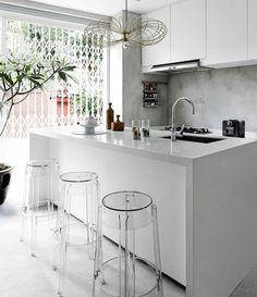 small,white and modern kitchen