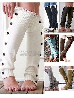 As mulheres Girl' s Crochê Tricô Com Botão polainas guarnição do laço Punhos Meias De Boot