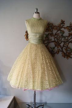 1950's celery dream party dress with pink petticoat, available at Xtabay.