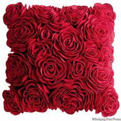 red felt, red rose pillow