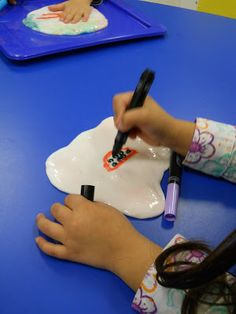 Give your little ones something different to write on.  Slime! your kids will love it.