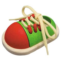 Tie-Up Shoe from Oompa Toys $10 U.S. http://www.oompa.com/collections/wooden-early-learning/products/plan-toys-tie-up-shoe
