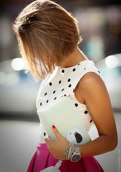 Black and white polka dot shirt + bright pink midi skirt