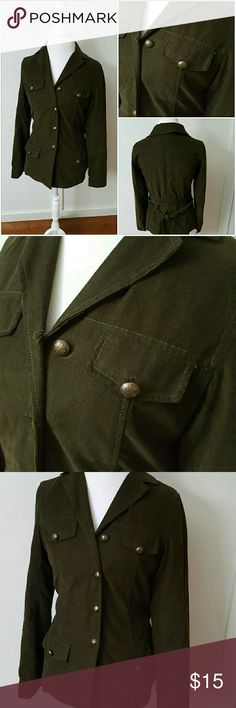 CASUAL CORNER SIZE 4 GREEN Military Style JACKET Casual Corner size 4 dark green corduroy jacket. Military style. Has a waist tie that can tie in the front but looks just as fashionable doubled over and tied in the back. Orange lining. Four front pockets. Has a military look to it. Pre-owned and in good condition. Shell is 100% Cotton. Lining is 100% Acetate Casual Corner  Jackets & Coats