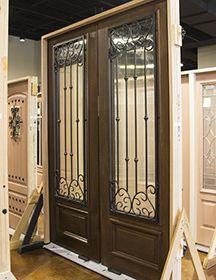 947dd08d345 GlassCraft Mahogany 3 4 Lite Valencia Wrought Iron Double Door Double Doors