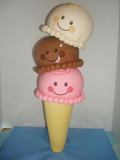 3D Ice Cream Cone Cake internal structure tutorial