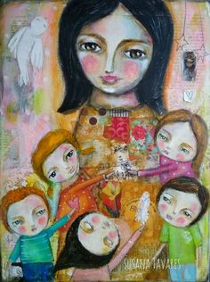 Susana Tavares: Teacher and children painting, mixed media art painting