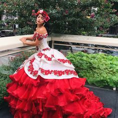 Red & white charro quinceañera dress🌹❤️ Book your appointment to say yes to your dream dress at Moda Mexican Quinceanera Dresses, Neon Prom Dresses, Champagne Homecoming Dresses, Xv Dresses, Quince Dresses Mexican, Charro Dresses, Quinceanera Collection, Sweet 15 Dresses, The Dress