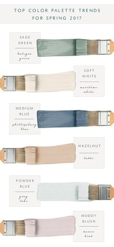 Top 2017 Top Color Palette: Sage Green: Sherwin Williams Halcyon Green SW 6213. Soft White: Benjamin Moore Maritime White BM963. Medium Navy Blue: Benjamin Moore Philipsburg Blue BM-159. Hazelnut: Sherwin Williams Latte SW-6108. Powder Blue: Benjamin Moore Gray Lake BM-2138-70.