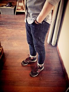 Daniel's outfit for the day at the store. WanderWonder shirt paired with A.P.C jeans and a pair of New Balance 1300s.