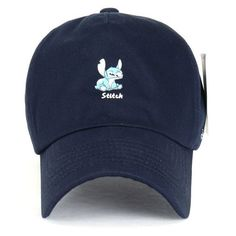 Disney Lilo Stitch Cute Logo Cotton Adjustable Curved Hat Baseball Cap ❤ liked on Polyvore featuring accessories, hats, adjustable baseball hats, adjustable baseball caps, ball cap hats, cotton baseball hats and logo baseball caps