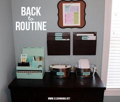 Great ideas for creating a bill paying and filing 'center' via Clean Mama; home office Organization Station, Office Supply Organization, Paper Organization, Clean Mama, Getting Organized, Command Centers, Office Supplies, School Supplies, Organizing Bills