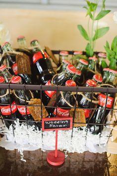 glass coke bottles as wedding favos :)