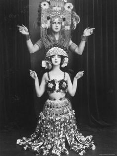 Dance Pioneers Ruth St. Denis and Her Husband Ted Shawn at performance in Dance Entitled Xochitl Premium Photographic Print