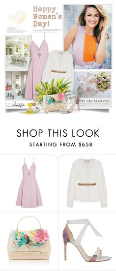 """International Women's day"" by thewondersoffashion ❤ liked on Polyvore featuring Zooey, Giambattista Valli, Brock Collection, Delpozo, Alexandre Birman and Oscar de la Renta"
