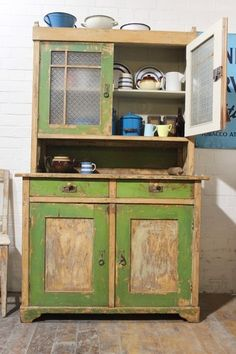 PAINTED GLAZED DRESSER/CUPBOARD SHABBY CHIC VINTAGE ROUGH LUXE