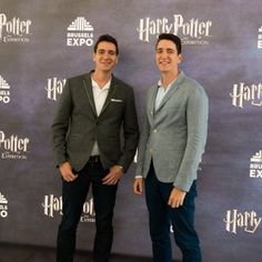 Actors James and Oliver Phelps at Harry Potter: The Exhibition in Brussels