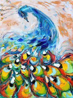 Original oil Proud Peacock Bird PALETTE KNiFE by Karensfineart