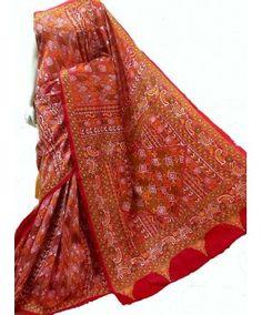 Kantha Nakshi hand embroidered silk saree