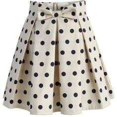 Chicwish Sweet Your Heart Polka Dots Skirt in Beige (1.200 UYU) ❤ liked on Polyvore featuring skirts, bottoms, polka dots, saias, beige, pleated skirt, knee length pleated skirt, bow skirt, lined skirt and polka dot pleated skirt
