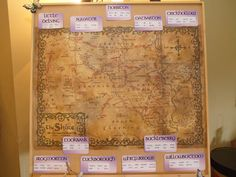 The table plan, revealing our 'Lord of the Rings' theme, with each table representing a place from the Shire.
