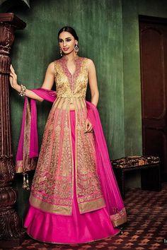 Alluring lacha style lehenga choli in beige & pink