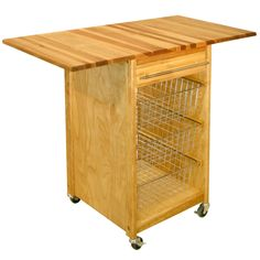 Made from hardy, yellow birch wood, this beautifully rugged Catskill Craftsmen kitchen cart has three chrome baskets and a drawer to organize your kitchen. Two drop leaves give you more workspace, while the easy-roll casters allow quick transport.