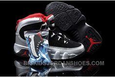 sports shoes 2860a 320b7 Nike Air Jordan 9 Kids Black Sliver Red Shoes Online