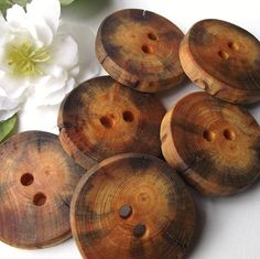 Buttons Wood - 6 Rustic Ohio Pine Wood Tree Branch Buttons - 2 holes, 1 1/2 inches - For journals, purses, pillows, and more